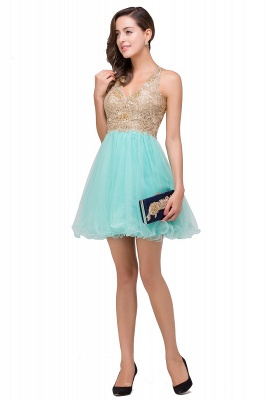 Cheap Short Tulle A-line V-Neck Appliques Sleeveless Prom Dress in Stock_10