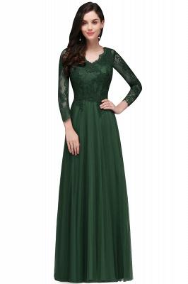 Long-Sleeves A-line Burgundy V-Neck Floor-Length Prom Dresses_3