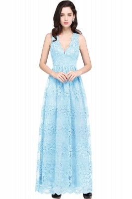 CHAYA | Sheath V-neck Floor-length Navy Blue Lace Prom Dress_5
