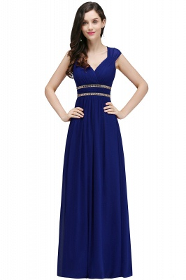 Vintage Burgundy Cap Sleeve Chiffon Long Evening Dress_5