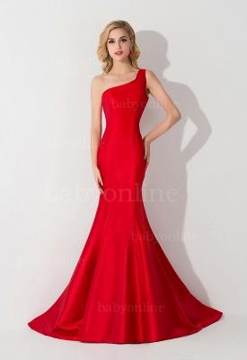 Mermaid Satin One-Shoulder Sleeveless Floor-Length Bridesmaid Dress_3
