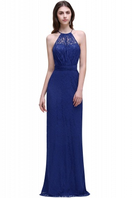 Cheap Pretty Floor length Navy blue Halter Lace Prom Dress in Stock_2