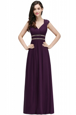 Cheap Vintage Burgundy Cap Sleeve Chiffon Long Evening Dress in Stock_4