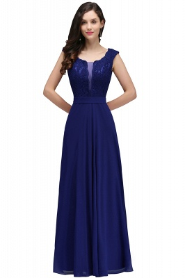 Cheap Elegant Lace A-line Long Burgundy Prom Dress in Stock_3