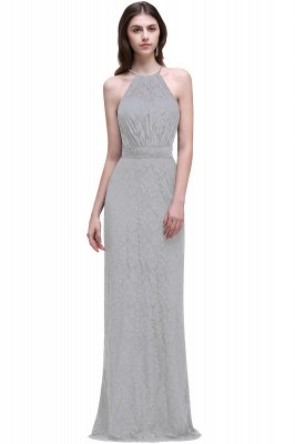 Cheap Pretty Floor length Navy blue Halter Lace Prom Dress in Stock_5