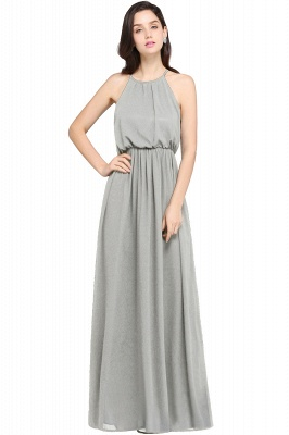 Dark Navy Halter Chiffon Sleeveless Bridesmaid Dresses | Cheap Wedding Guest Dresses_8