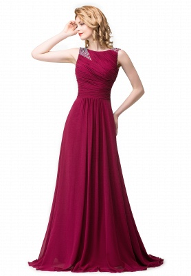 Cheap Chiffon A-line Sexy Sparkly Crystal Long Prom Evening Dress in Stock_1