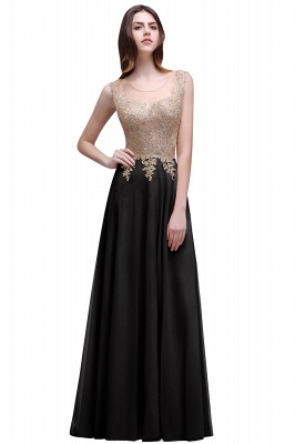 Cheap Elegant Sheer Lace Applique Chiffon Floor Length Long Evening Dress in Stock_3