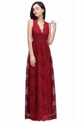 CHAYA | Sheath V-neck Floor-length Navy Blue Lace Prom Dress_1