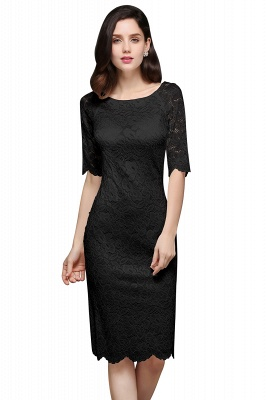 Lace Sleeve Short Knee-length Fashion Ivory Jewel Evening Dresses_3