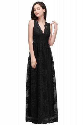 CHAYA | Sheath V-neck Floor-length Navy Blue Lace Prom Dress_6