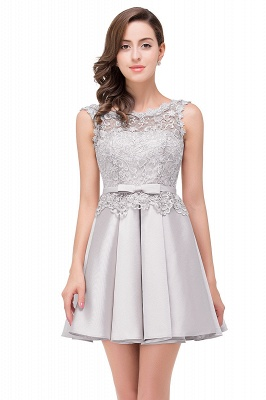 Cheap A-line Knee-length Satin Homecoming Dress with Lace in Stock_5