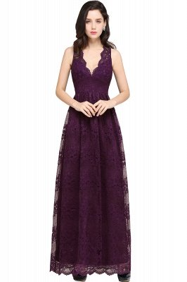 CHAYA | Sheath V-neck Floor-length Navy Blue Lace Prom Dress_3