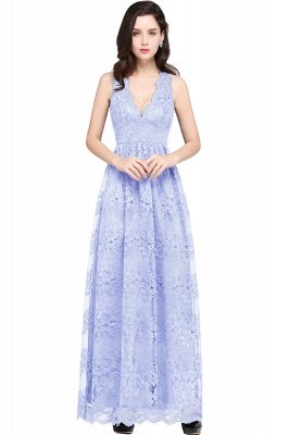 CHAYA | Sheath V-neck Floor-length Navy Blue Lace Prom Dress_4