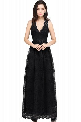 CHAYA | Sheath V-neck Floor-length Navy Blue Lace Prom Dress_6