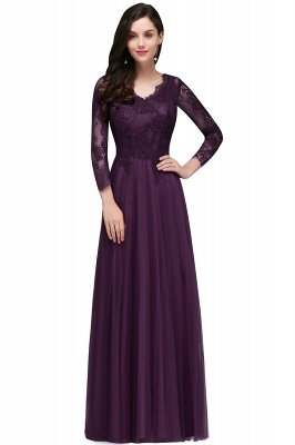 Long-Sleeves A-line Burgundy V-Neck Floor-Length Prom Dresses_2
