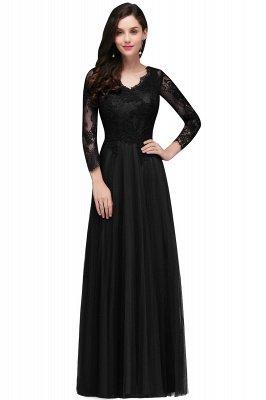 Long-Sleeves A-line Burgundy V-Neck Floor-Length Prom Dresses_2