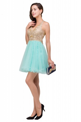 Cheap Short Tulle A-line V-Neck Appliques Sleeveless Prom Dress in Stock_8