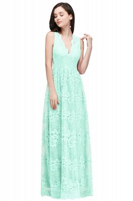 CHAYA | Sheath V-neck Floor-length Navy Blue Lace Prom Dress_8