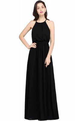 Dark Navy Halter Chiffon Sleeveless Bridesmaid Dresses | Cheap Wedding Guest Dresses_4