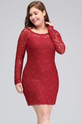 Burgundy Bateau Long Sleeves Lace Sheath Plus Size Short Party Dresses_9