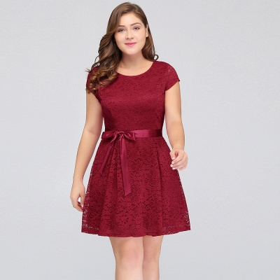 Jewel Short Sleeves Lace Knee Length Cheap Plus Size Party Dresses_8