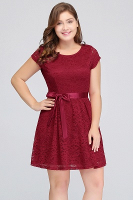 Jewel Short Sleeves Lace Knee Length Cheap Plus Size Party Dresses_10