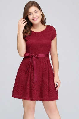 Jewel Short Sleeves Lace Knee Length Cheap Plus Size Party Dresses_4
