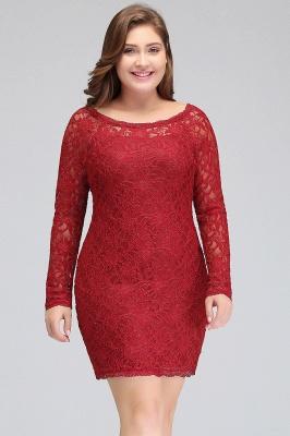 Burgundy Bateau Long Sleeves Lace Sheath Plus Size Short Party Dresses_5