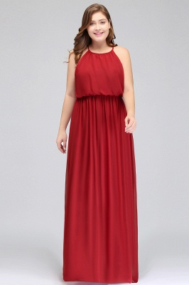 Burgundy Plus Size Chiffon Sleeveless Bridesmaid Dresses | Affordable Wedding Guest Dresses_6