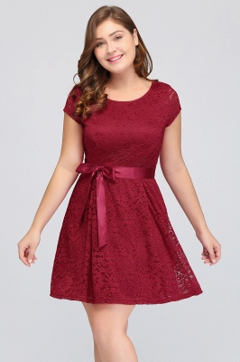 Jewel Short Sleeves Lace Knee Length Cheap Plus Size Party Dresses_5
