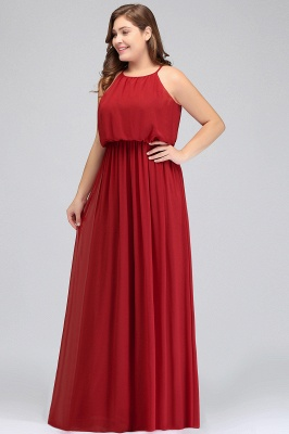 Burgundy Plus Size Chiffon Sleeveless Bridesmaid Dresses | Affordable Wedding Guest Dresses_4