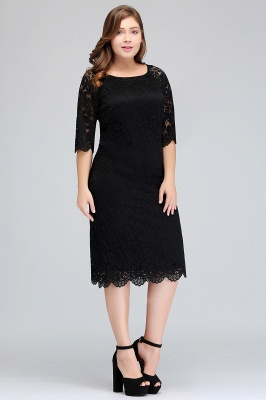 Cheap Lace Jewel Short Ivory Fashion Knee-length Sleeve Evening Dress in Stock_4