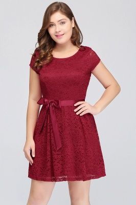 Jewel Short Sleeves Lace Knee Length Cheap Plus Size Party Dresses_6