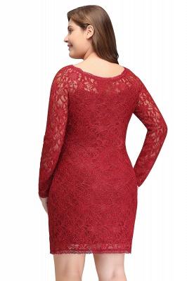 Burgundy Bateau Long Sleeves Lace Sheath Plus Size Short Party Dresses_3