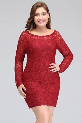 Burgundy Bateau Long Sleeves Lace Sheath Plus Size Short Party Dresses_7