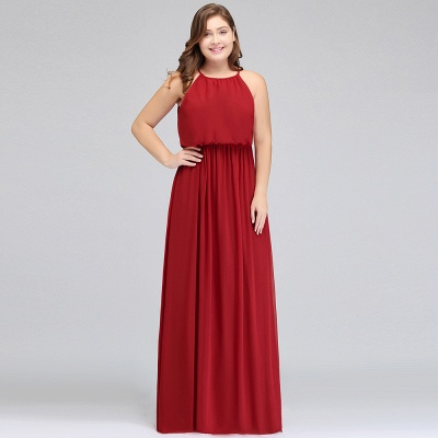 Burgundy Plus Size Chiffon Sleeveless Bridesmaid Dresses | Affordable Wedding Guest Dresses_9