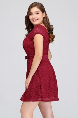Jewel Short Sleeves Lace Knee Length Cheap Plus Size Party Dresses_7