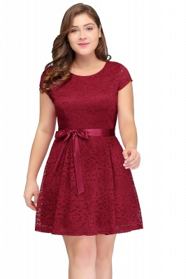 Jewel Short Sleeves Lace Knee Length Cheap Plus Size Party Dresses_3