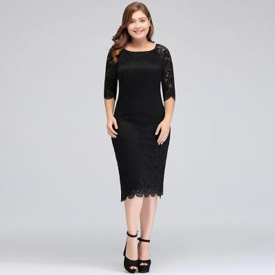 Lace Jewel Short Ivory Fashion Knee-length Sleeve Evening Dress_7
