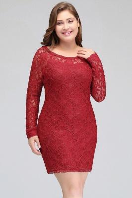Burgundy Bateau Long Sleeves Lace Sheath Plus Size Short Party Dresses_6