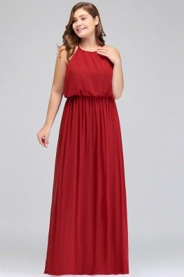 Burgundy Plus Size Chiffon Sleeveless Bridesmaid Dresses | Affordable Wedding Guest Dresses_5