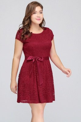 Jewel Short Sleeves Lace Knee Length Cheap Plus Size Party Dresses