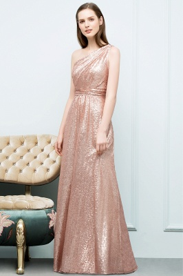 A-line One-shoulder Sleeveless Floor Length Sequins Prom Dresses_2