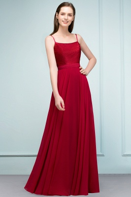 A-line Spaghetti Floor Length Lace Appliques Prom Dress In Stock_1