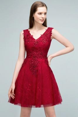 JULIA   A-line Sleeveless Short V-neck Lace Appliqued Tulle Prom Dresses_1