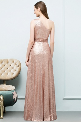 A-line Sequined One-shoulder Sleeveless Floor-Length Bridesmaid Dresses_2