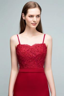 Mermaid Charmeuse Lace Spaghetti-Straps Sweetheart Sleeveless Floor-Length Bridesmaid Dresses with Beads_5