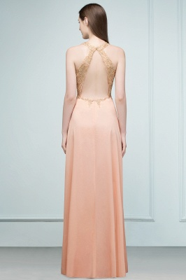 Cheap A-line Floor Length V-neck Sleeveless Appliques Chiffon Prom Dress in Stock_4