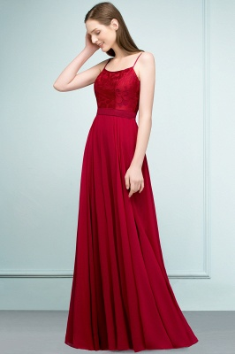 A-line Spaghetti Floor Length Lace Appliques Prom Dress In Stock_8